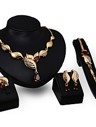 May Polly  European and American popular crystal Leaf Necklace Earrings Ring Bracelet Set