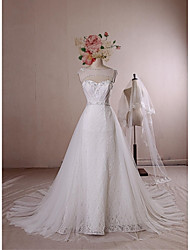 A-line Wedding Dress - Ivory Chapel Train Scoop Lace / Satin / Tulle