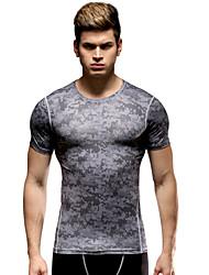 Vansydical® Men's Running Tops Running Breathable Gray  Sports Wear