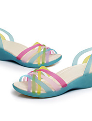 Women's Shoes Silicone Wedge Heel Heels / Peep Toe / Fashion Boots Sandals Blue / Yellow / Red / Orange / Rose