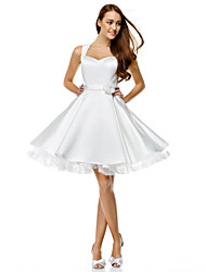 TS Couture® Cocktail Party Dress A-line Sweetheart Knee-length Satin with Buttons / Flower(s)