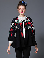 AOFULI Winter Embroidered Woolen Women's Europe High Fashion Vintage Patchwork Plus Size Loose Thicken Coat