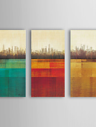 Oil Painting Modern Abstract Buildings Set of 3 Hand Painted Canvas with Stretched Framed