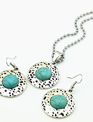 Vintage Look Antique Silver Round Turquoise Tiger Stone Amethyst (Earring and Necklace)Jewelry Set