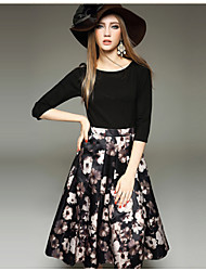 Women's Casual / Print Floral / Patchwork Ball Gown Dress , Round Neck Knee-length Cotton