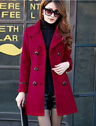 New Korean Cultivating In The Long Section of Large Breasted Woolen Coat Doubles