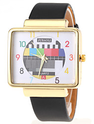 Popular Quartz Watch With Analog Indicate Checkered Leather Watch Band For Women-gold Cool Watches Unique Watches