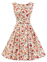 Women's White Floral Dress , Vintage Sleeveless 50s Rockabilly Swing Short Cocktail Dress
