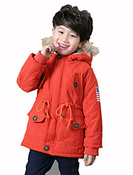 Boy's Stylish Hooded Long Sleeve Self-Tie Pocket Design Trench Coat