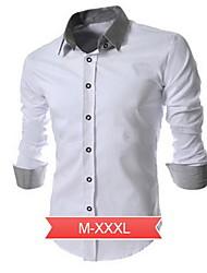 Men's Work/Formal Dress Shirt, Plus Size Contrast Collar Long Sleeve