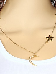 Wholesale Women Necklace European Style Star Moon Layered Chain Necklace