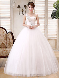 Ball Gown Wedding Dress Floor-length One Shoulder Lace / Satin / Tulle