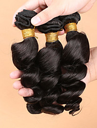 7A Brazilian Loose Wave Hair Extension With Silk Base Closure Virgin Human Hair 3 Bundles With Silk Base Closure
