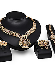 Women Wedding Bridal Pierced Flower-type Butterfly Alloy Necklace Earrings Bracelet Ring Jewelry Set