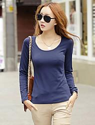 Lager-på-lager Långärmad T-shirt Kvinnors V-hals Bomull / Nylon