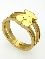 Fashion Bear Craft Cuff Rings 316L Stainless Steel Gold Plating Band Rings 1pc