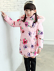 Girl's Blue / Pink Down & Cotton Padded , Floral Polyester Winter
