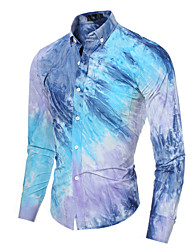 Men's Long Sleeve Shirt , Cotton / Polyester Casual / Work / Sport Plaids & Checks  Tie-dye