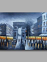 klaar om gestrekte hand geschilderd olieverf doek kunst aan de muur stadsbeeld parise straat nacht zwarte paneel hangen