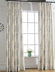 Blue Linen Floral Printing Curtain Two Panel Curtains Drapes