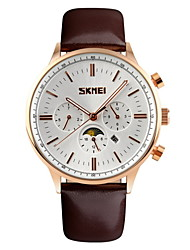 SKMEI® Men's Moon Phase Six Pointers Quartz Dress Watch Leather Strap Cool Watch Unique Watch