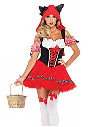 Cosplay Costumes Party Costume Fairytale Festival/Holiday Halloween Costumes Red Patchwork Dress Briefs HatHalloween Christmas Children's
