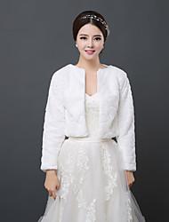 Wraps casamento Boleros Manga Comprida Pelo Artificial Marfim Casamento 34cm Aberto à Frente