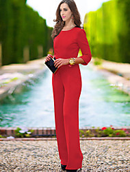 Women's Solid Blue / Red / Black Jumpsuits , Sexy / Casual / Day Round Neck Long Sleeve