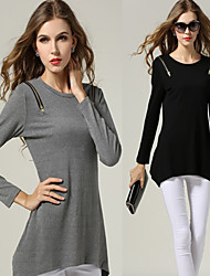 Women's Solid Color Black / Gray T-Shirts , Bodycon / Casual / Cute / Party Round Long Sleeve