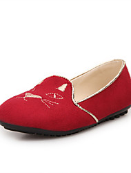 Women's Shoes Flat Heel Comfort / Round Toe Flats Wedding / Outdoor / Dress / Casual Black / Blue / Red