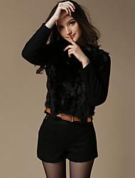 Women Rabbit Fur Outerwear , Belt Not Included