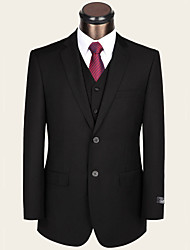 Suits Standard /Overweight / Obesity Fit Notch Single Breasted Two-buttons Wool / Viscose Solid 2 Pieces Black