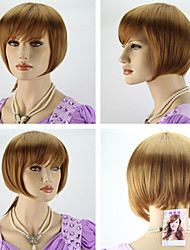 Women's Fashionable Light Brown Straight Short Hair Wigs with Side Bang