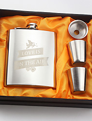 Personalized Stainless Steel Hip Flasks 7-oz Flask Set Thanks Gift