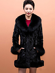 Women's Plus Size / Casual Party/Cocktail Sexy / Simple Fur Coat,Solid / Color Block Shawl Lapel Long Sleeve Fall /