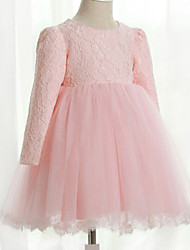 Girl's Vogue  Cotton Blend / Satin Winter / Fall Bowknot Lacework High Waist  Flower Girl Dress Dress