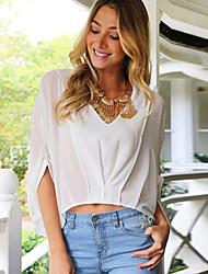 Women's White Wrap Front Chiffon Shirts Blouses A02003