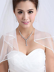 Wedding Veil Two-tier Fingertip Veils Ribbon Edge Tulle White Ivory
