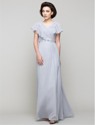 A-line Mother of the Bride Dress Floor-length Sleeveless Chiffon with Crystal Detailing / Criss Cross