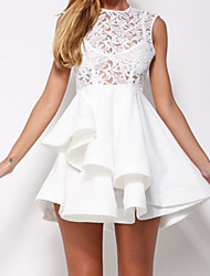 Women's Romance Lace Asymmetric Hem Skater Dress