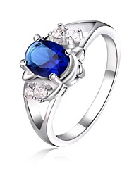 925 Silver Plated Blue Crystal Statement Rings Wedding/Party/Daily/Casual 1pc