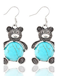 Vintage Wholesale Women Lovely Bear Turquoise Drop Earring