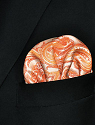 Men's Orange Paisley Hanky 100% Silk Wedding Pocket Square