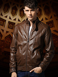 Men Stand Collar Zip Closed PU Leather Jacket , Lined / Fleece Lining