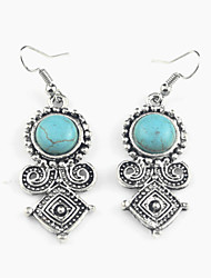 Vintage Look Antique Silver Plated Round Turquoise Stone Drop Dangle Earring(1Pair)