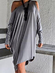 Dominic Women's Solid Color Gray Dresses , Casual Off-the-shoulder Long Sleeve
