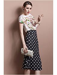 Women's Polka Dot Black Skirts , Casual Knee-length