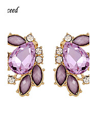 Stud Earrings Drop Earrings Gemstone Acrylic Resin Gold Plated Glass Alloy Fashion Purple Jewelry Wedding Party Daily Casual 2pcs