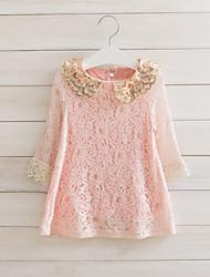 Menina de Vestido Jacquard Misto de Algodão Outono / Primavera Rosa
