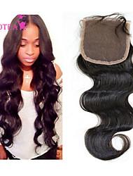"1 pcs 10""-22"" Brazilian Lace Closure Natural Black Virgin Human Hair Lace Top Closures"